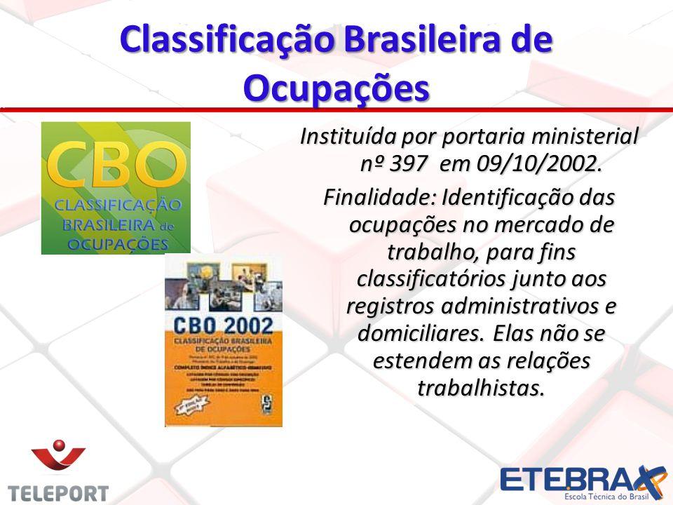 Classificação Brasileira de Ocupações Instituída por portaria ministerial nº 397 em 09/10/2002. Finalidade: Identificação das ocupações no mercado de
