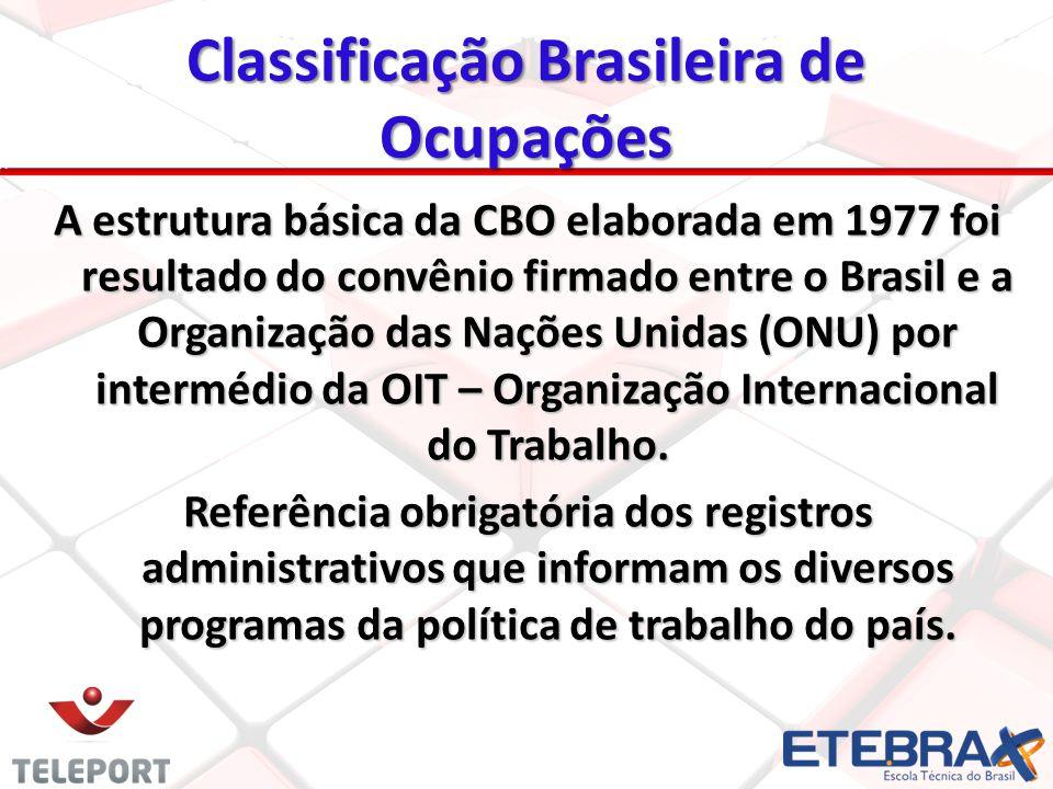 A estrutura básica da CBO elaborada em 1977 foi resultado do convênio firmado entre o Brasil e a Organização das Nações Unidas (ONU) por intermédio da