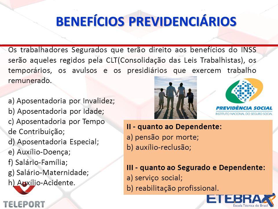 BENEFÍCIOS PREVIDENCIÁRIOS Os trabalhadores Segurados que terão direito aos benefícios do INSS serão aqueles regidos pela CLT(Consolidação das Leis Tr