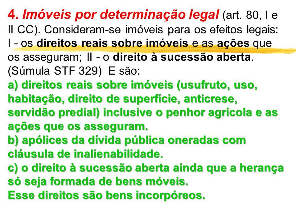 4. Imóveis por determinação legal (art. 80, I e II CC). Consideram-se imóveis para os efeitos legais: I - os direitos reais sobre imóveis e as ações q