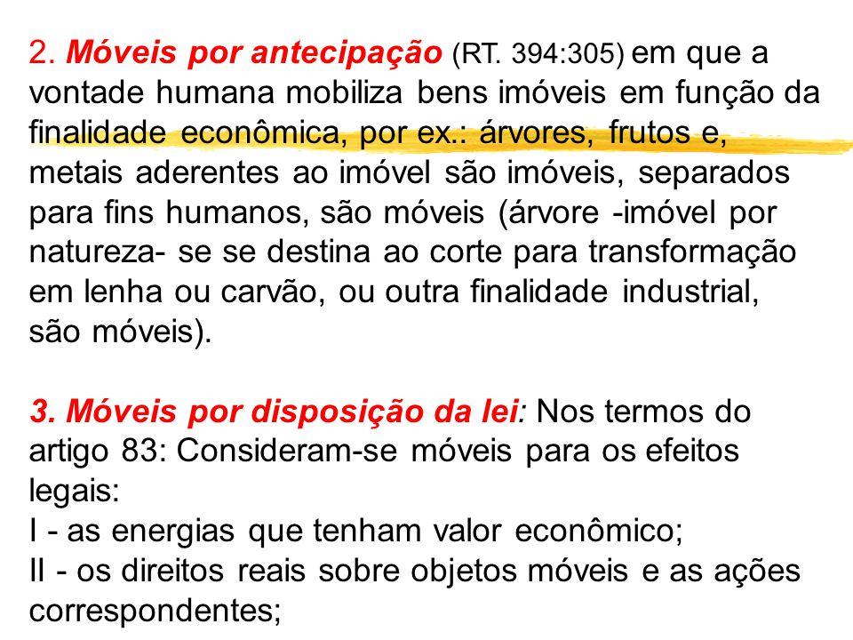 2. Móveis por antecipação (RT. 394:305) em que a vontade humana mobiliza bens imóveis em função da finalidade econômica, por ex.: árvores, frutos e, m