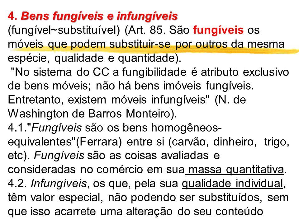 Bens fungíveis e infungíveis 4. Bens fungíveis e infungíveis (fungível~substituível) (Art. 85. São fungíveis os móveis que podem substituir-se por out