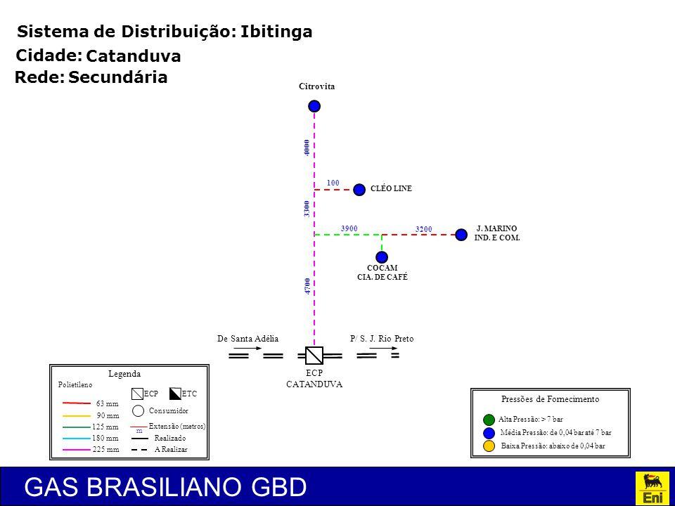 GAS BRASILIANO GBD Sistema de Distribuição: Ibitinga Rede: 63 mm 90 mm 125 mm 180 mm 225 mm ECP Consumidor m Extensão (metros) Legenda Polietileno Rea