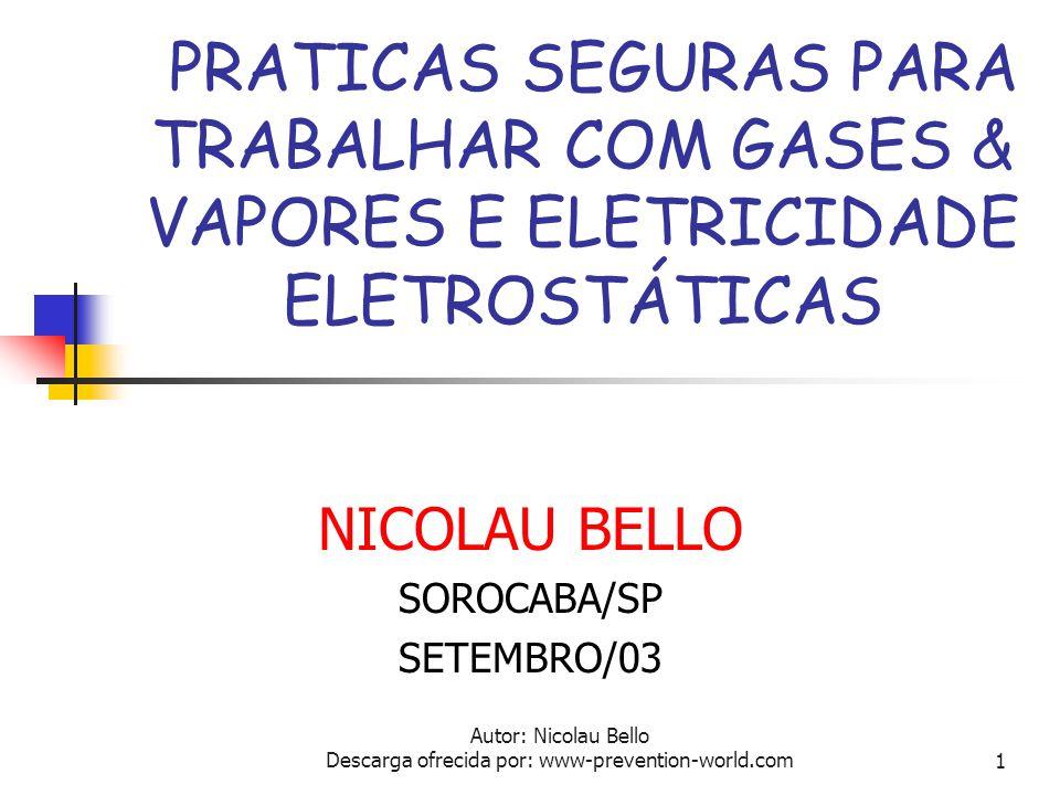 Autor: Nicolau Bello Descarga ofrecida por: www-prevention-world.com1 PRATICAS SEGURAS PARA TRABALHAR COM GASES & VAPORES E ELETRICIDADE ELETROSTÁTICAS NICOLAU BELLO SOROCABA/SP SETEMBRO/03