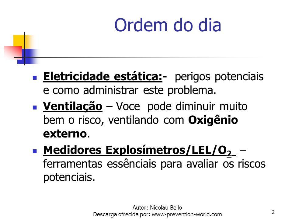 Autor: Nicolau Bello Descarga ofrecida por: www-prevention-world.com 2 Ordem do dia Eletricidade estática:- perigos potenciais e como administrar este problema.
