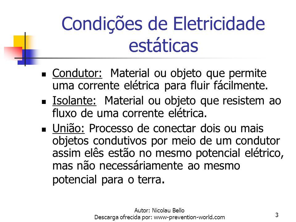 Autor: Nicolau Bello Descarga ofrecida por: www-prevention-world.com 3 Condições de Eletricidade estáticas Condutor: Material ou objeto que permite uma corrente elétrica para fluir fácilmente.