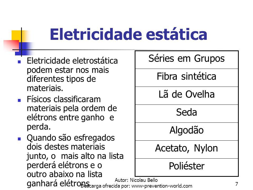 Autor: Nicolau Bello Descarga ofrecida por: www-prevention-world.com 6 Eletricidade estática Embora estes valores dissipem lentamente, eles podem cria