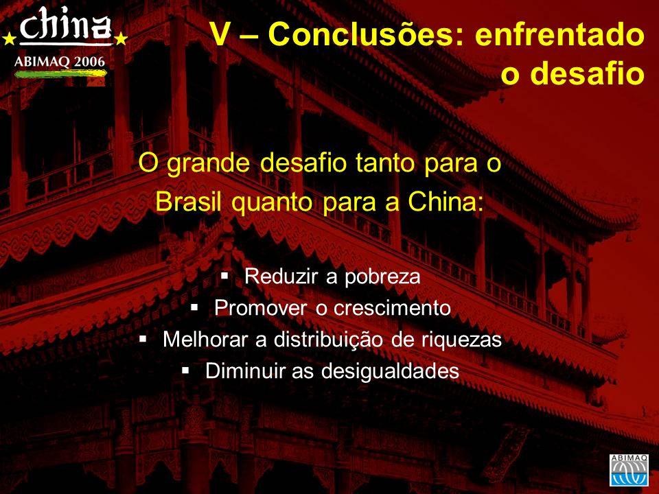 O grande desafio tanto para o Brasil quanto para a China: Reduzir a pobreza Promover o crescimento Melhorar a distribuição de riquezas Diminuir as desigualdades V – Conclusões: enfrentado o desafio