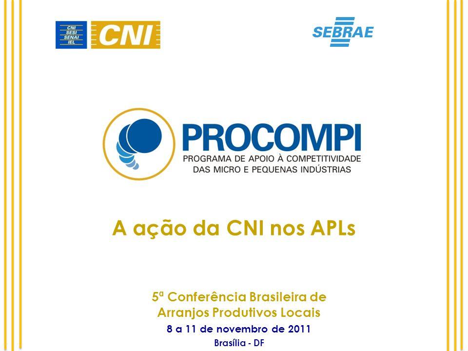 A ação da CNI nos APLs 5ª Conferência Brasileira de Arranjos Produtivos Locais 8 a 11 de novembro de 2011 Brasília - DF