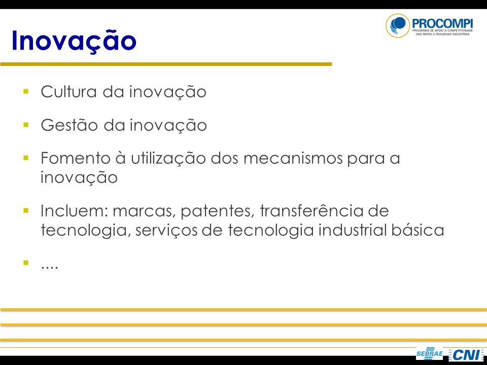 Inovação Cultura da inovação Gestão da inovação Fomento à utilização dos mecanismos para a inovação Incluem: marcas, patentes, transferência de tecnol