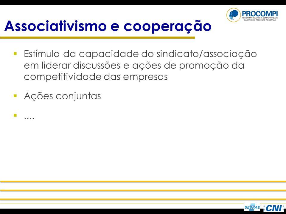 Associativismo e cooperação Estímulo da capacidade do sindicato/associação em liderar discussões e ações de promoção da competitividade das empresas A