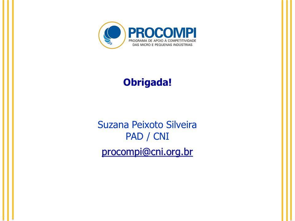 Obrigada! Suzana Peixoto Silveira PAD / CNIprocompi@cni.org.br