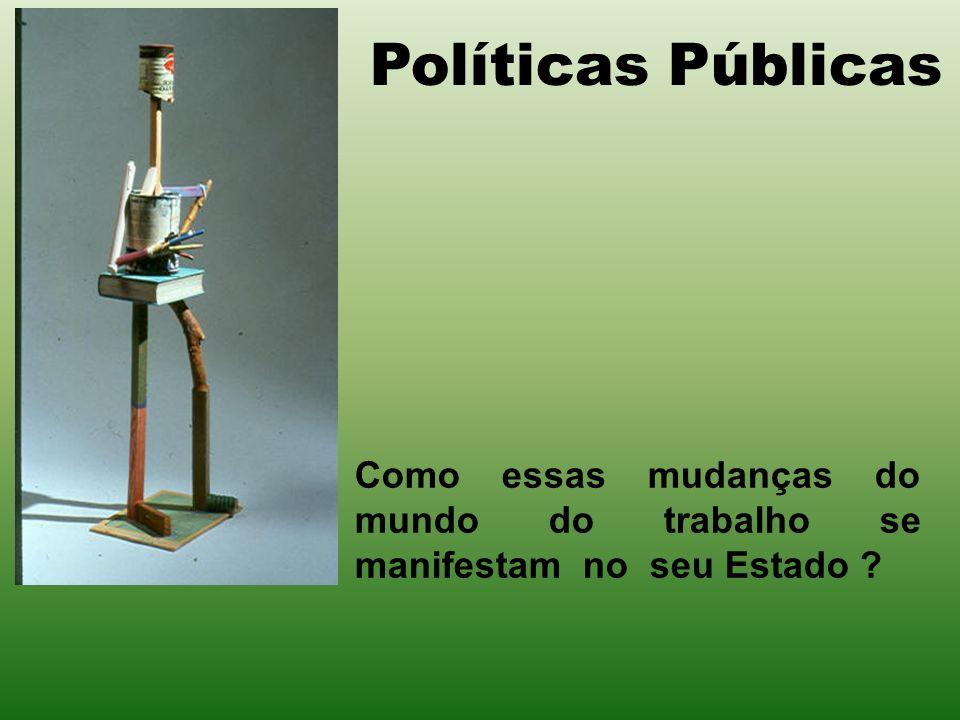 Políticas Públicas Como essas mudanças do mundo do trabalho se manifestam no seu Estado ?
