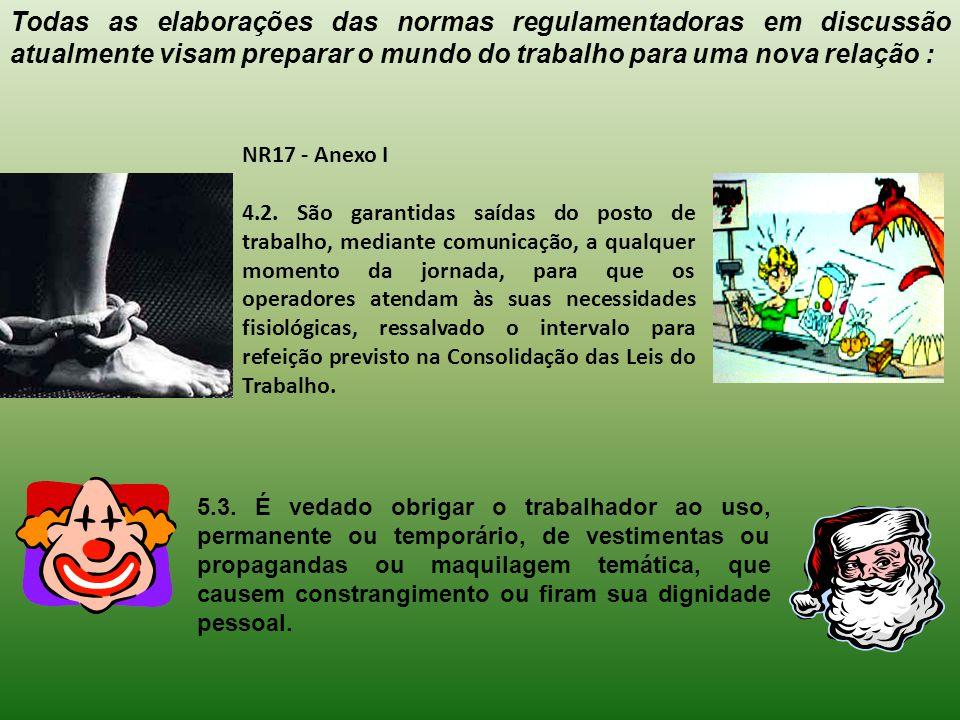 NR17 - Anexo I 4.2. São garantidas saídas do posto de trabalho, mediante comunicação, a qualquer momento da jornada, para que os operadores atendam às