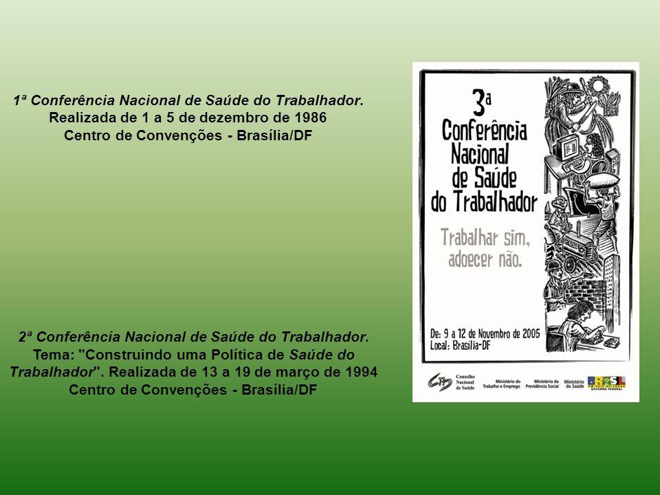 1ª Conferência Nacional de Saúde do Trabalhador. Realizada de 1 a 5 de dezembro de 1986 Centro de Convenções - Brasília/DF 2ª Conferência Nacional de
