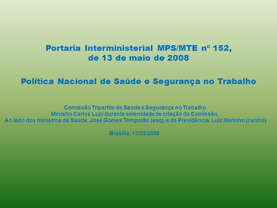 Comissão Tripartite de Saúde e Segurança no Trabalho Ministro Carlos Lupi durante solenidade de criação da Comissão. Ao lado dos ministros da Saúde, J
