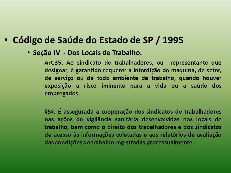 Código de Saúde do Estado de SP / 1995 Seção IV - Dos Locais de Trabalho. – Art.35. Ao sindicato de trabalhadores, ou representante que designar, é ga