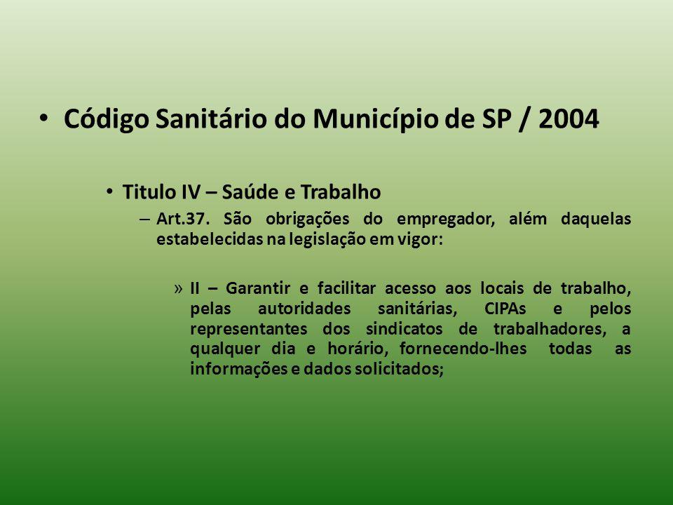 Código Sanitário do Município de SP / 2004 Titulo IV – Saúde e Trabalho – Art.37. São obrigações do empregador, além daquelas estabelecidas na legisla