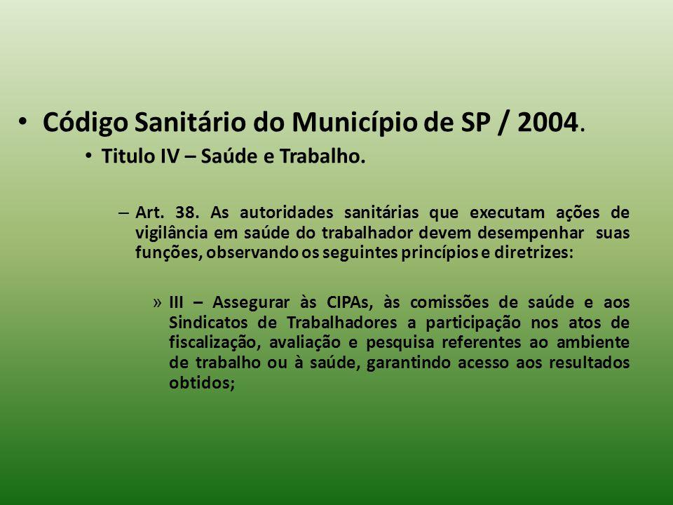 Código Sanitário do Município de SP / 2004. Titulo IV – Saúde e Trabalho. – Art. 38. As autoridades sanitárias que executam ações de vigilância em saú