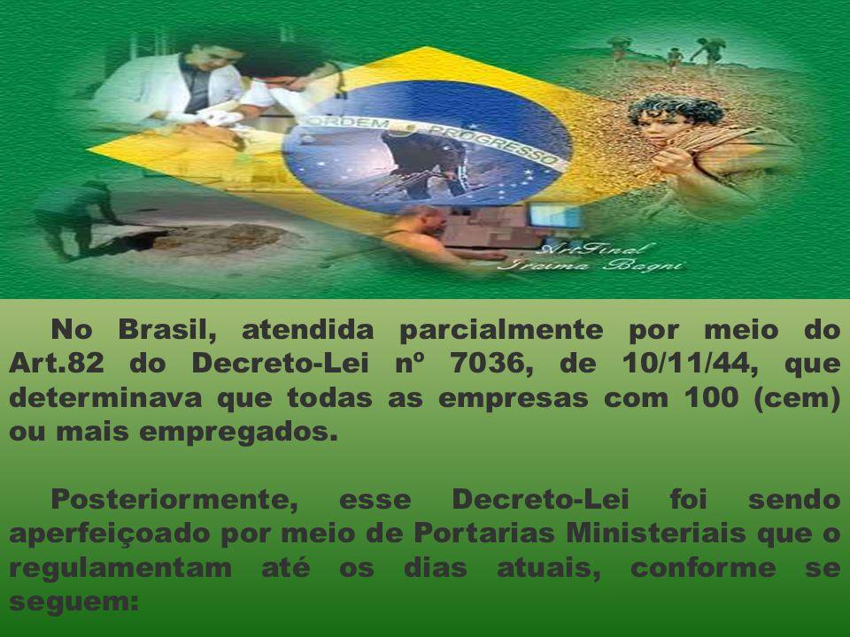 No Brasil, atendida parcialmente por meio do Art.82 do Decreto-Lei nº 7036, de 10/11/44, que determinava que todas as empresas com 100 (cem) ou mais e