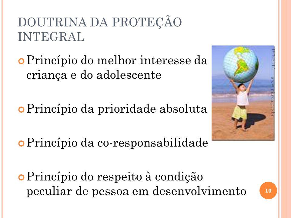 DOUTRINA DA PROTEÇÃO INTEGRAL Princípio do melhor interesse da criança e do adolescente Princípio da prioridade absoluta Princípio da co-responsabilid