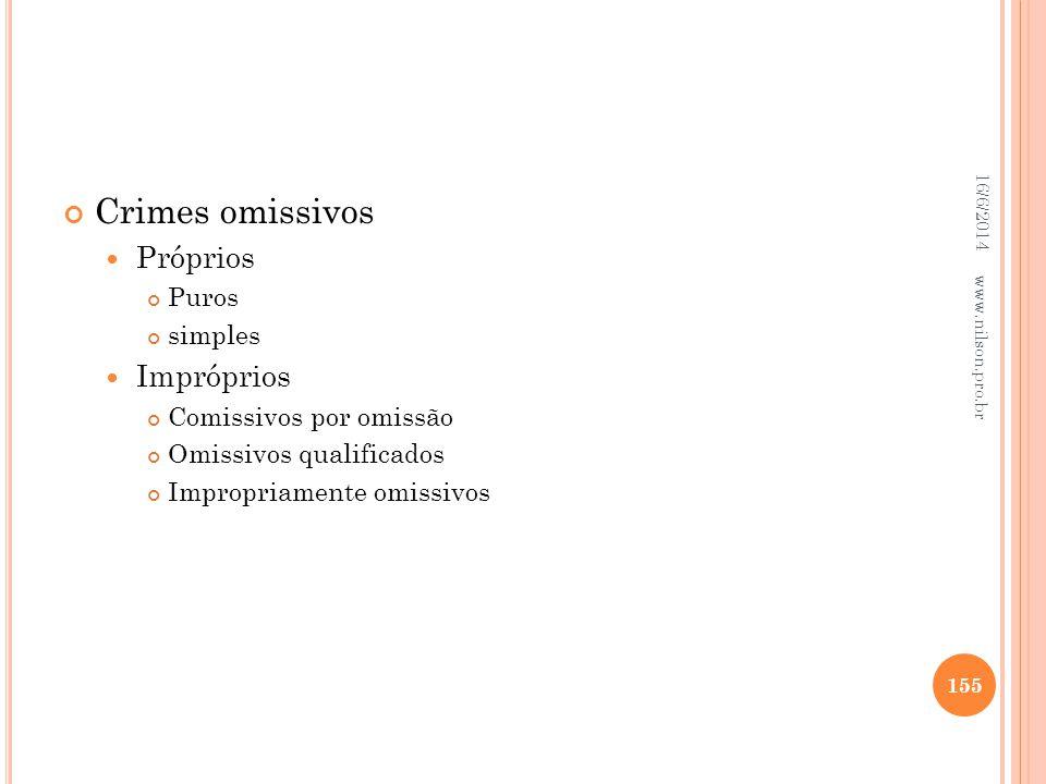 Crimes omissivos Próprios Puros simples Impróprios Comissivos por omissão Omissivos qualificados Impropriamente omissivos 16/6/2014 155 www.nilson.pro