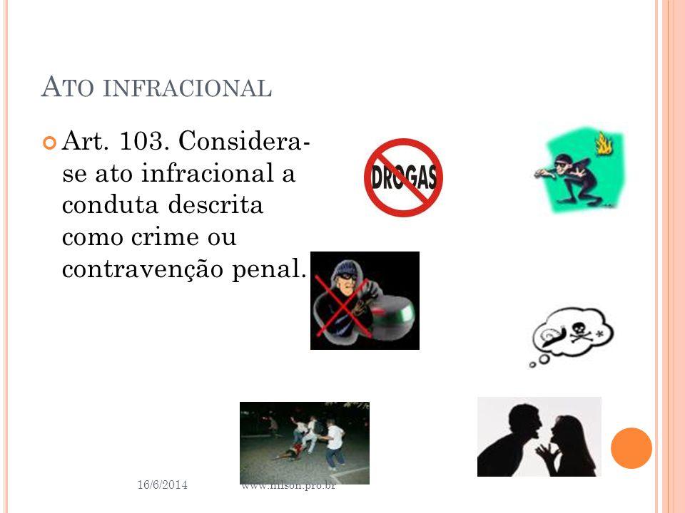 A TO INFRACIONAL Art. 103. Considera- se ato infracional a conduta descrita como crime ou contravenção penal. 16/6/2014 34 www.nilson.pro.br