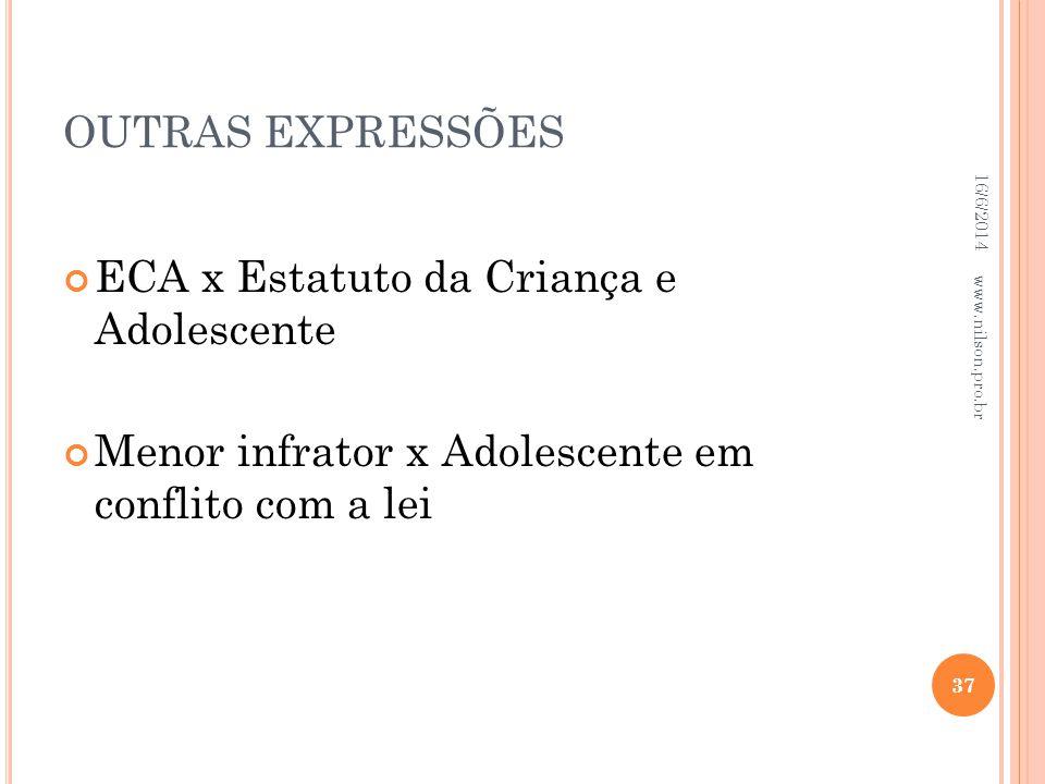 OUTRAS EXPRESSÕES ECA x Estatuto da Criança e Adolescente Menor infrator x Adolescente em conflito com a lei 16/6/2014 37 www.nilson.pro.br