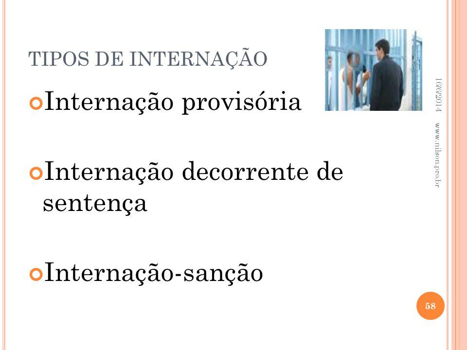 TIPOS DE INTERNAÇÃO Internação provisória Internação decorrente de sentença Internação-sanção 16/6/2014 58 www.nilson.pro.br