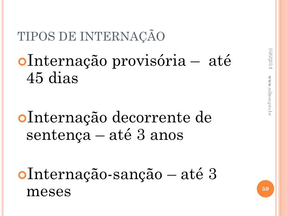 TIPOS DE INTERNAÇÃO Internação provisória – até 45 dias Internação decorrente de sentença – até 3 anos Internação-sanção – até 3 meses 16/6/2014 59 ww