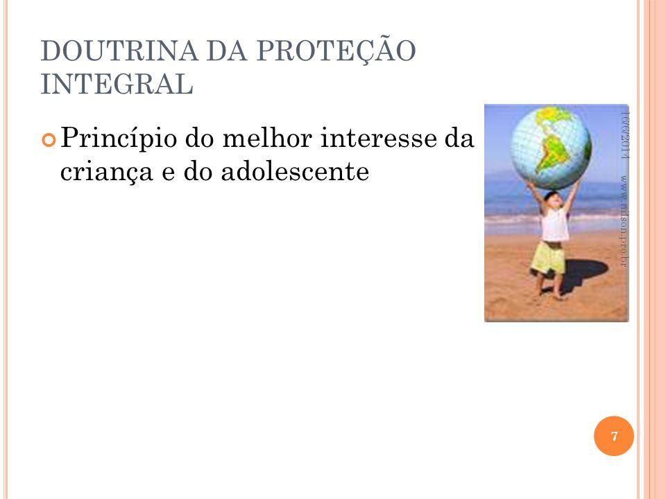 DOUTRINA DA PROTEÇÃO INTEGRAL Princípio do melhor interesse da criança e do adolescente 16/6/2014 7 www.nilson.pro.br