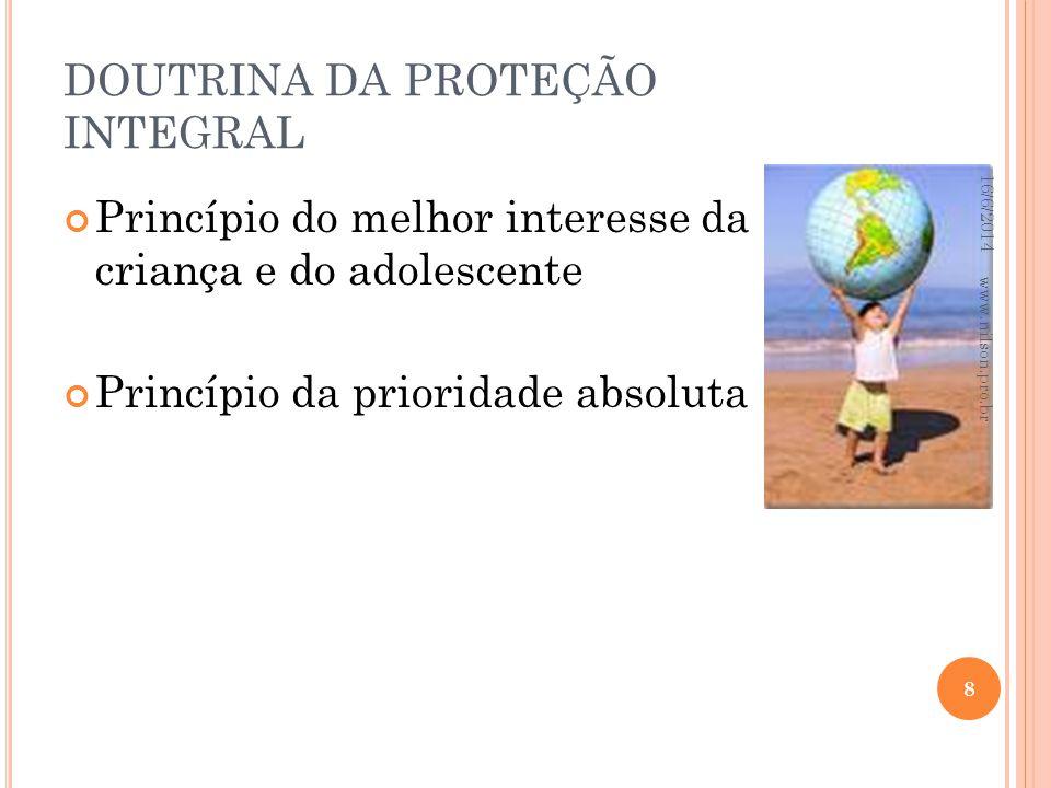 DOUTRINA DA PROTEÇÃO INTEGRAL Princípio do melhor interesse da criança e do adolescente Princípio da prioridade absoluta 16/6/2014 8 www.nilson.pro.br