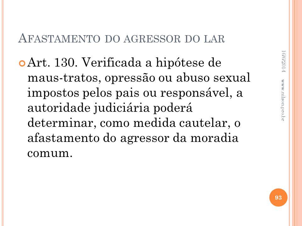 A FASTAMENTO DO AGRESSOR DO LAR Art. 130. Verificada a hipótese de maus-tratos, opressão ou abuso sexual impostos pelos pais ou responsável, a autorid
