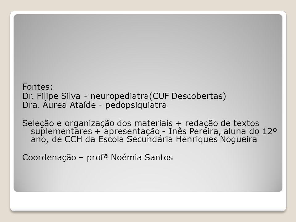 Fontes: Dr. Filipe Silva - neuropediatra(CUF Descobertas) Dra. Áurea Ataíde - pedopsiquiatra Seleção e organização dos materiais + redação de textos s