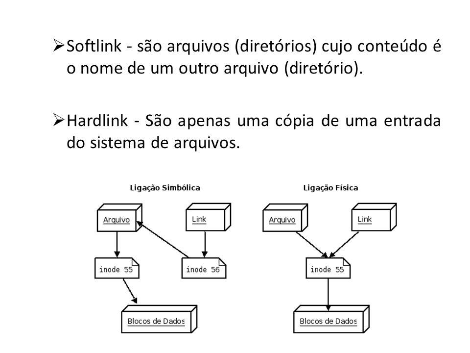 Softlink - são arquivos (diretórios) cujo conteúdo é o nome de um outro arquivo (diretório). Hardlink - São apenas uma cópia de uma entrada do sistema