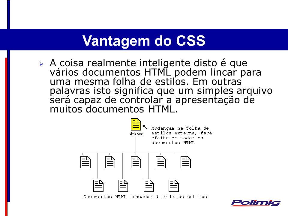Exemplo Estrutura Básica A coisa realmente inteligente disto é que vários documentos HTML podem lincar para uma mesma folha de estilos. Em outras pala