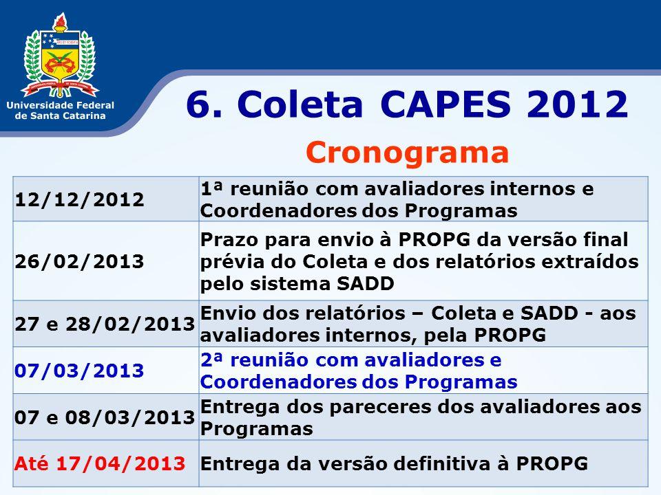 6. Coleta CAPES 2012 Cronograma 12/12/2012 1ª reunião com avaliadores internos e Coordenadores dos Programas 26/02/2013 Prazo para envio à PROPG da ve