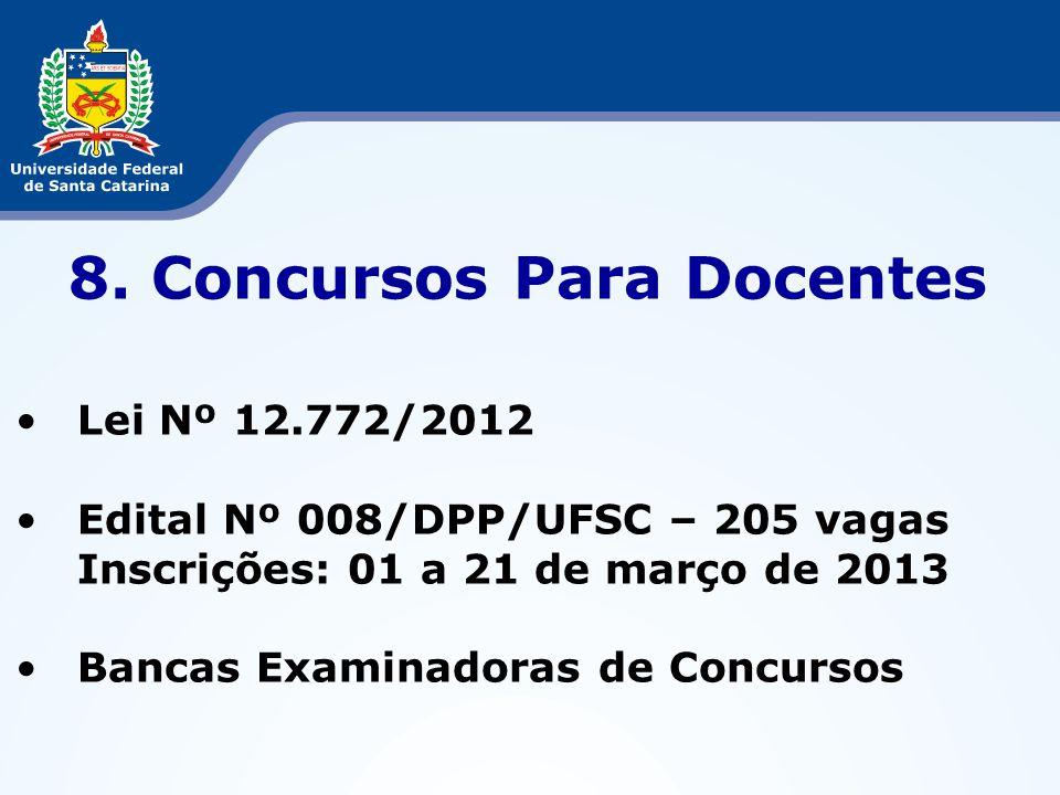 8. Concursos Para Docentes Lei Nº 12.772/2012 Edital Nº 008/DPP/UFSC – 205 vagas Inscrições: 01 a 21 de março de 2013 Bancas Examinadoras de Concursos