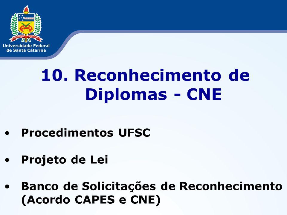 10. Reconhecimento de Diplomas - CNE Procedimentos UFSC Projeto de Lei Banco de Solicitações de Reconhecimento (Acordo CAPES e CNE)