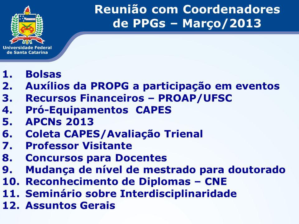 1.Bolsas 2.Auxílios da PROPG a participação em eventos 3.Recursos Financeiros – PROAP/UFSC 4.Pró-Equipamentos CAPES 5.APCNs 2013 6.Coleta CAPES/Avalia