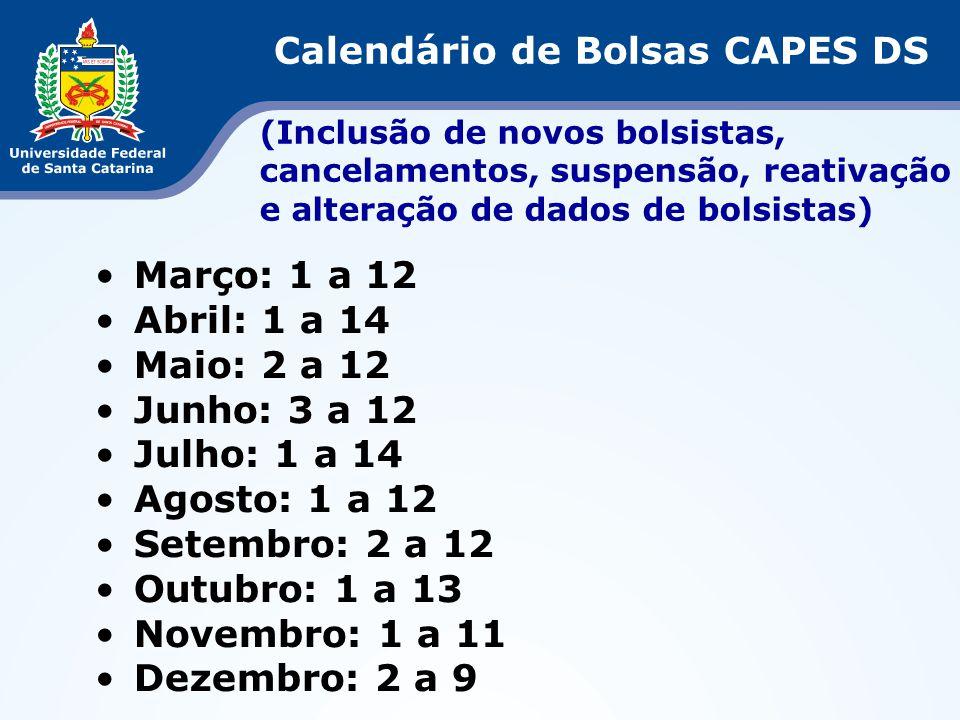 Março: 1 a 12 Abril: 1 a 14 Maio: 2 a 12 Junho: 3 a 12 Julho: 1 a 14 Agosto: 1 a 12 Setembro: 2 a 12 Outubro: 1 a 13 Novembro: 1 a 11 Dezembro: 2 a 9