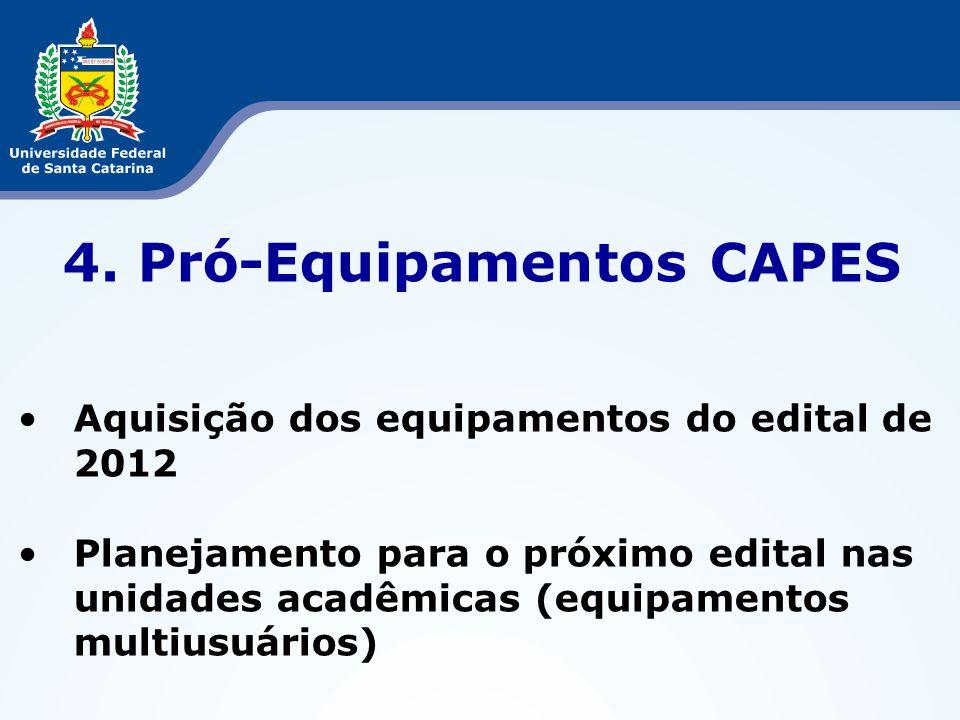 4. Pró-Equipamentos CAPES Aquisição dos equipamentos do edital de 2012 Planejamento para o próximo edital nas unidades acadêmicas (equipamentos multiu