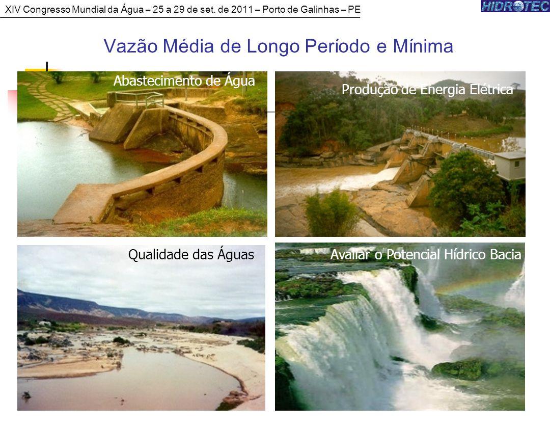 Vazão Média de Longo Período e Mínima Produção de Energia Elétrica Abastecimento de Água Qualidade das ÁguasAvaliar o Potencial Hídrico Bacia XIV Congresso Mundial da Água – 25 a 29 de set.