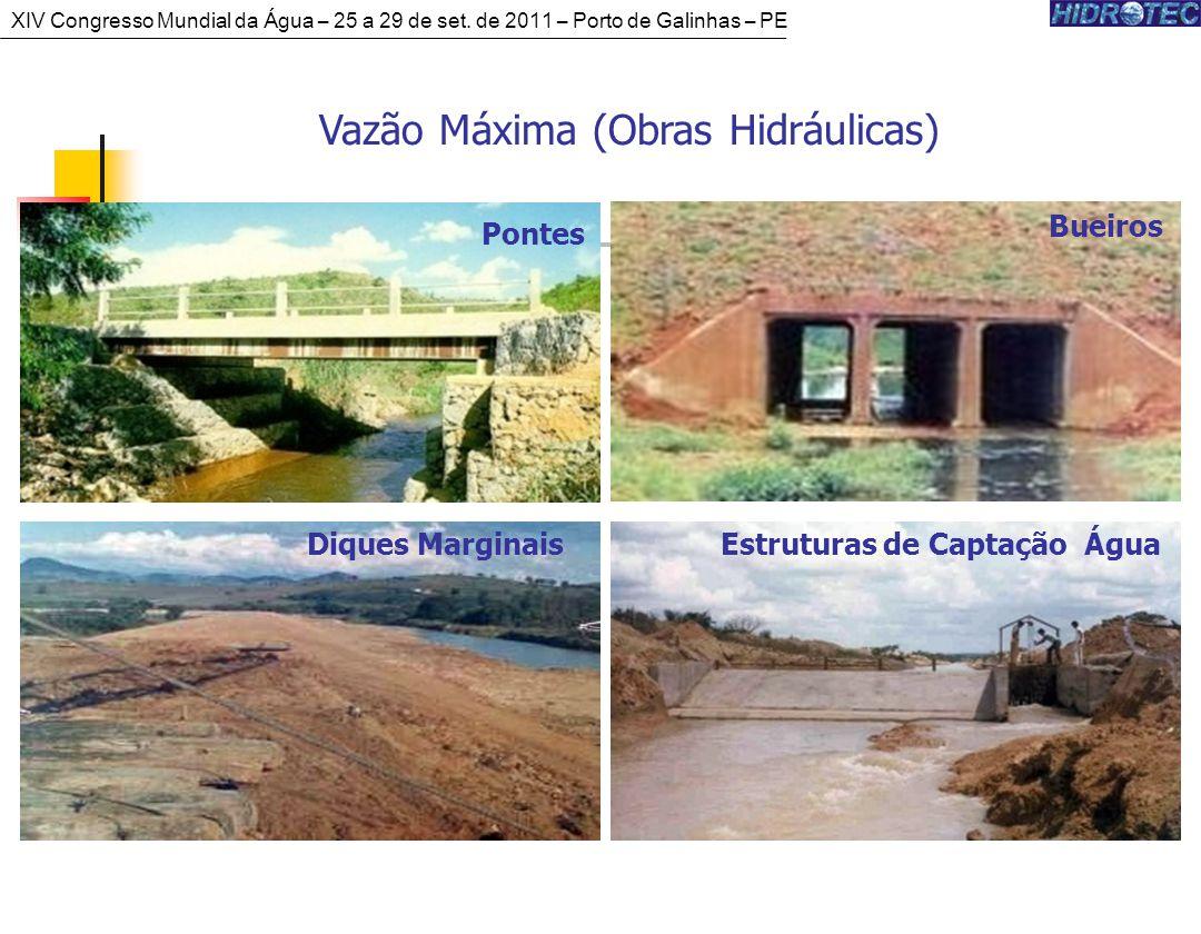 Vazão Máxima (Obras Hidráulicas) Pontes Bueiros Estruturas de Captação ÁguaDiques Marginais XIV Congresso Mundial da Água – 25 a 29 de set.