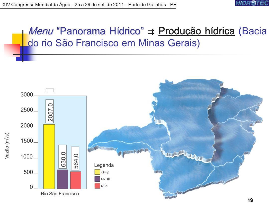 MenuPanorama Hídrico Menu Panorama Hídrico Produção hídrica (Bacia do rio São Francisco em Minas Gerais) 19 XIV Congresso Mundial da Água – 25 a 29 de set.