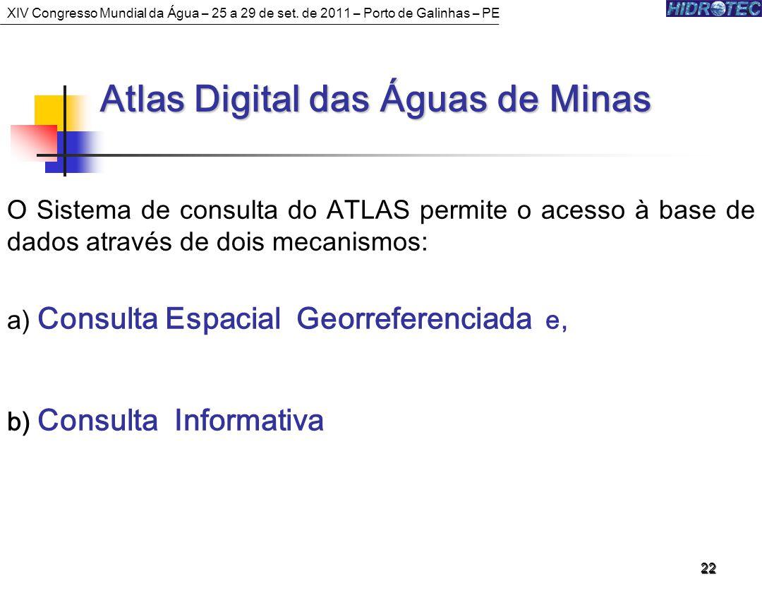 22 Atlas Digital das Águas de Minas Atlas Digital das Águas de Minas O Sistema de consulta do ATLAS permite o acesso à base de dados através de dois mecanismos: a) Consulta Espacial Georreferenciada e, b) Consulta Informativa XIV Congresso Mundial da Água – 25 a 29 de set.