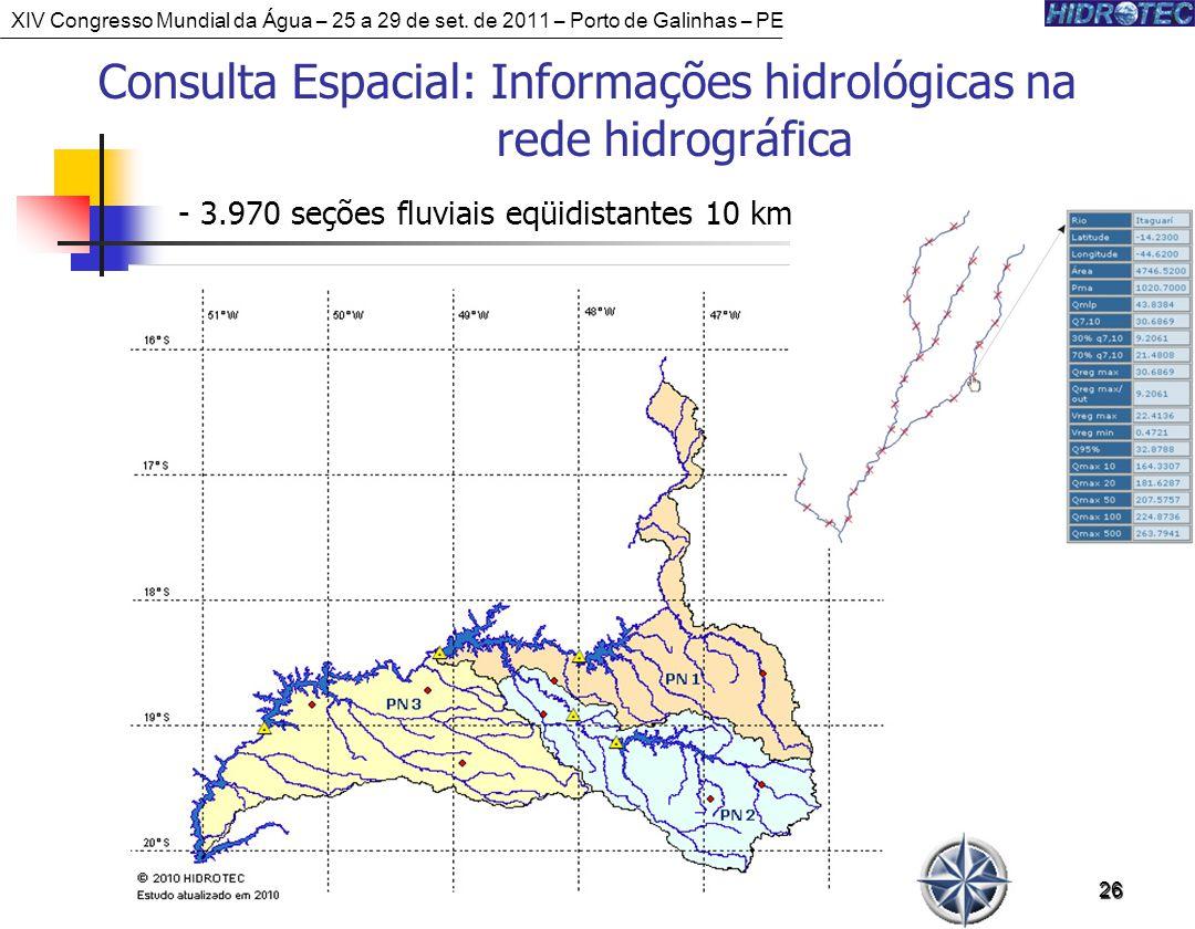 26 Consulta Espacial: Informações hidrológicas na rede hidrográfica - 3.970 seções fluviais eqüidistantes 10 km XIV Congresso Mundial da Água – 25 a 29 de set.