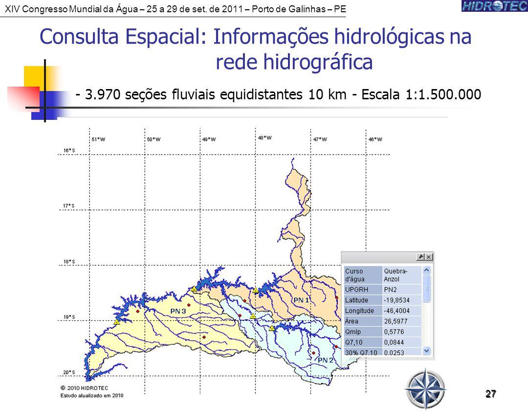 27 Consulta Espacial: Informações hidrológicas na rede hidrográfica - 3.970 seções fluviais equidistantes 10 km - Escala 1:1.500.000 XIV Congresso Mundial da Água – 25 a 29 de set.