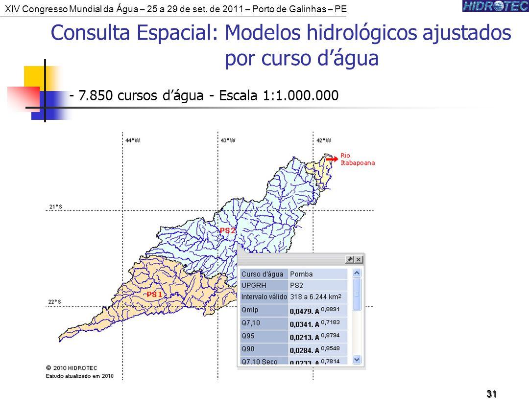 31 Consulta Espacial: Modelos hidrológicos ajustados por curso dágua - 7.850 cursos dágua - Escala 1:1.000.000 XIV Congresso Mundial da Água – 25 a 29 de set.