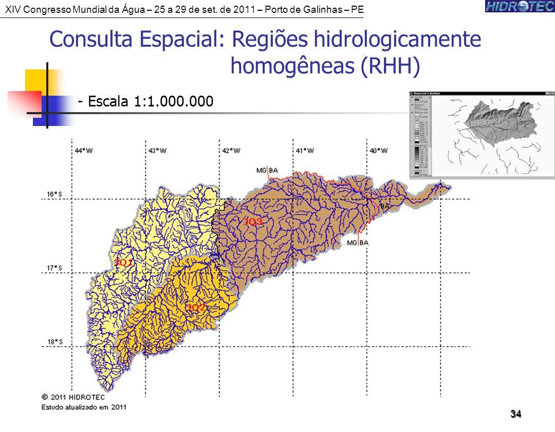 34 Consulta Espacial: Regiões hidrologicamente homogêneas (RHH) - Escala 1:1.000.000 XIV Congresso Mundial da Água – 25 a 29 de set.